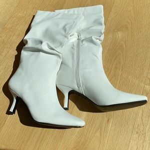 Nasty Gal Kitten Heeled Square Toe Boots White